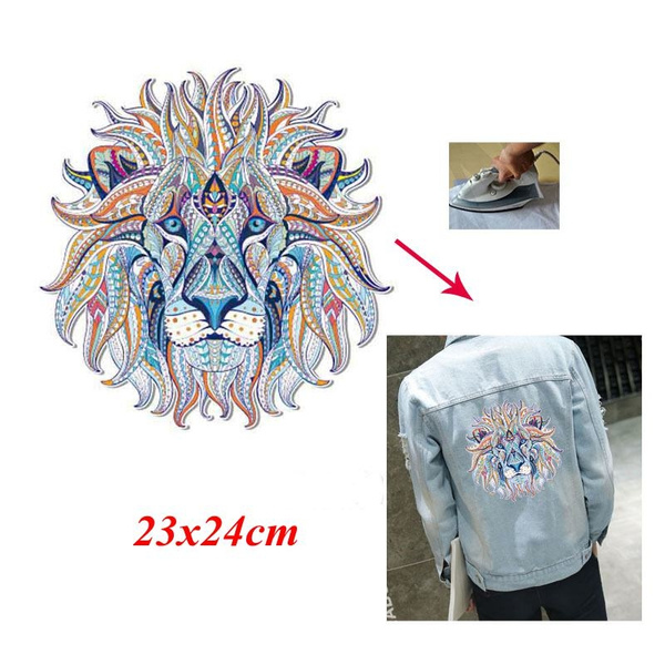 Lion Iron on Stickers Washable Heat Transfer Patches For Clothes Applique