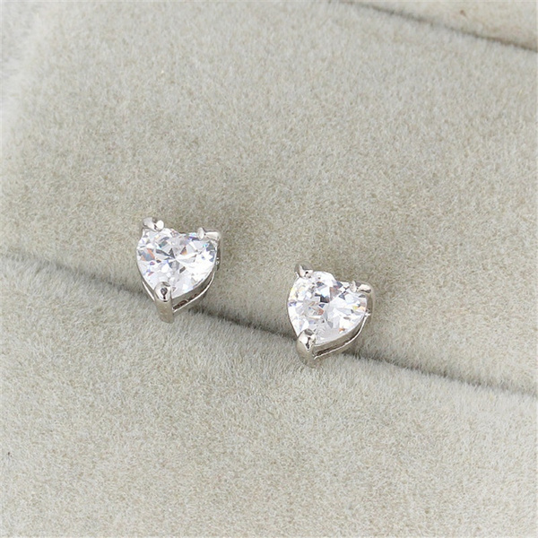 White Gold, Heart, Fashion, Sterling Silver Earrings