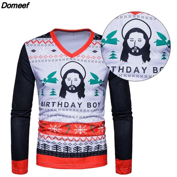 wish whatwears ugly christmas sweater mens jesus birthday boy sweater tom