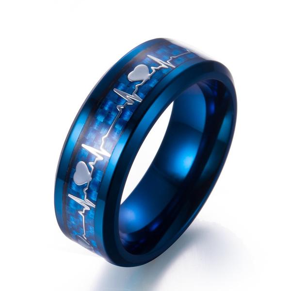b178431664 Lovers Heartbeat ECG Ring Couple Rings Titanium Steel Ring ...