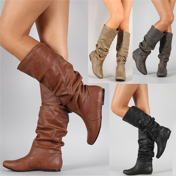 777fa048d Fashion Ladies Leather Stitching Flat Mid Calf Boots Casual Wide ...