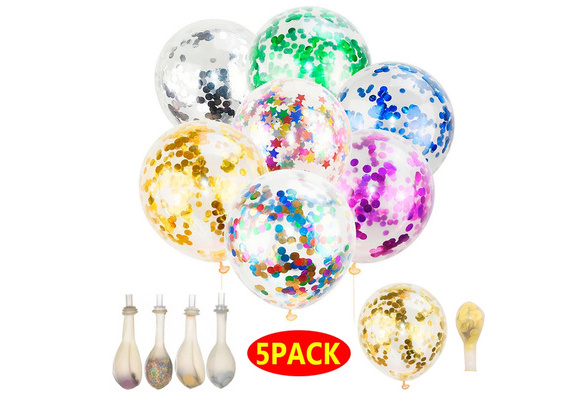 5Pcs 12 inch Gold Foil Confetti Latex Balloons Helium Wedding Birthday Party Festival Decor