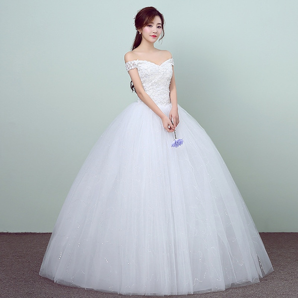 Wish New Style Off Shoulder Uniform Wedding Dress Simple Marriage White Temperament Bride