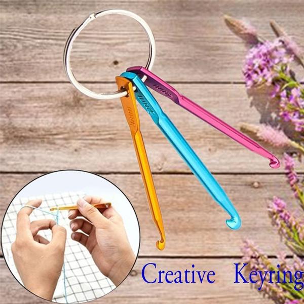 3 Pcsset Crochet Hooks Key Chain Set Diy Weaving Tools Crochet