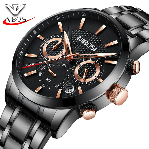 160c1bd67 NIBOSI Ultra-thin Fashion Luxury Mens Watches Black Steel Wristwatches  Casual Sports Luminous Wrist Watch Waterproof Quartz Watches for Men High  Quality ...