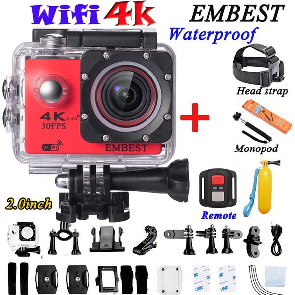 EMBEST EM60R Action Camera 4K Wifi Waterproof Sports Camcorder DV DVR Full  HD 4K 30fps 2 7K 30fps 1080P 60fps 720P 120fps Video Camera 16MP Photo 170