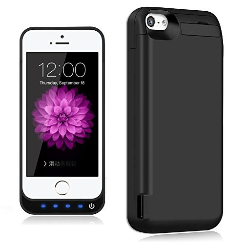 los angeles 40c89 1d471 iPhone 5 / 5S / 5C / SE Battery Case, TQTHL Update [4800mAh] External  Battery Backup Protective Charger Case for iPhone 5 / 5S / 5C / SE  (Built-in USB ...