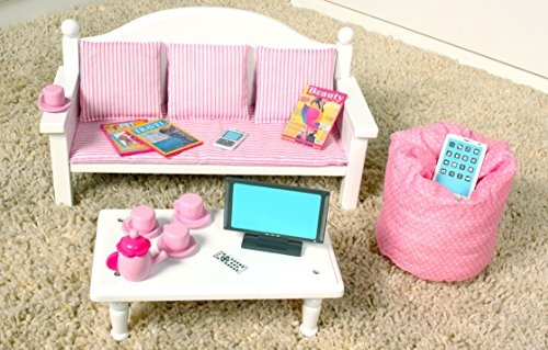 Wish | 18 Inch Doll Furniture Sofa & Coffee Table Set w/ Accessories ...