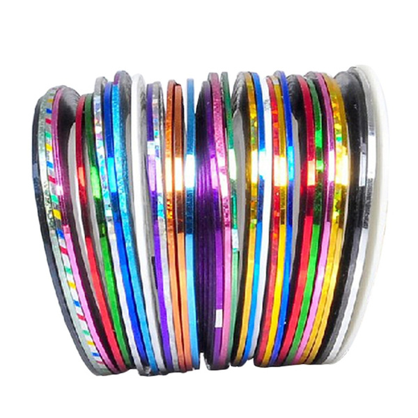 Wish 30pcs 30 Multicolor Mixed Colors Rolls Striping Tape Line