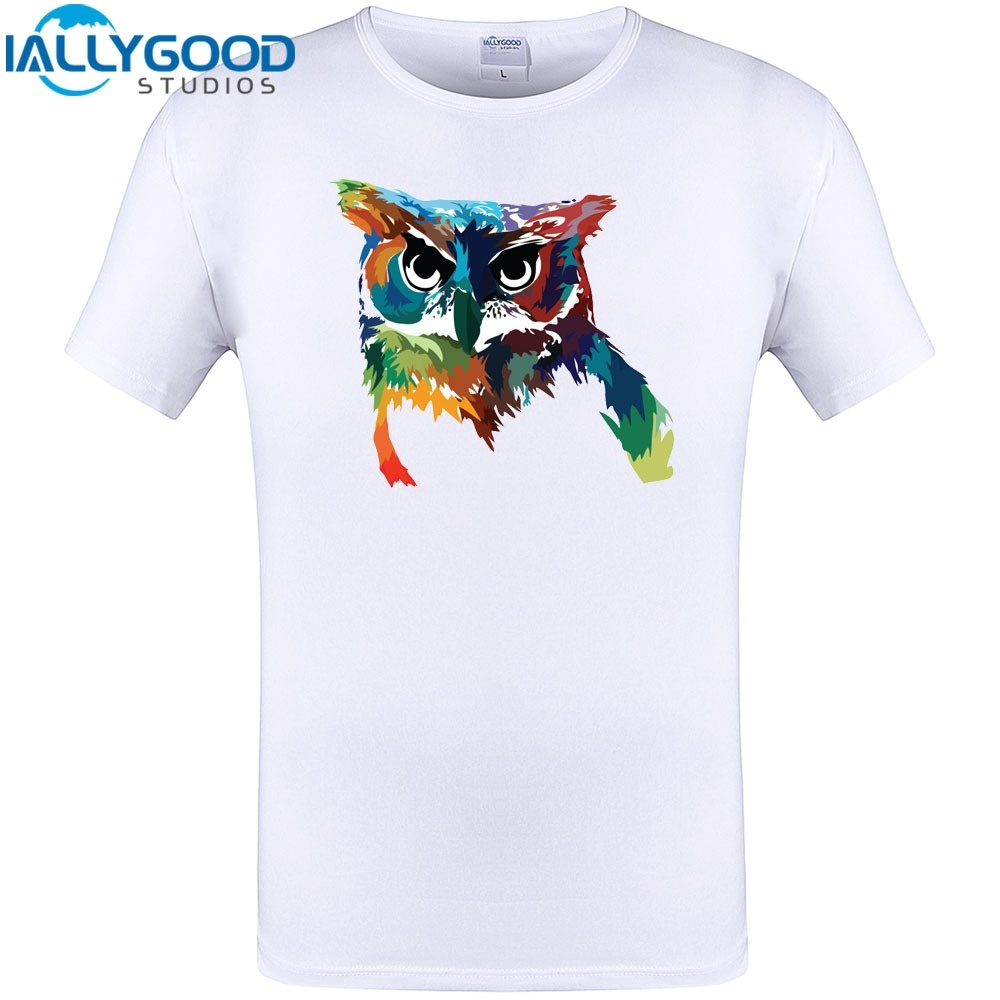 Psychedelic Owl Cool Design T Shirt New Arrival Summer Short Sleeve Casual  Tops Cotton Funny Printed Plus Size Tee Shirt Crazy T Shirts Online Cool