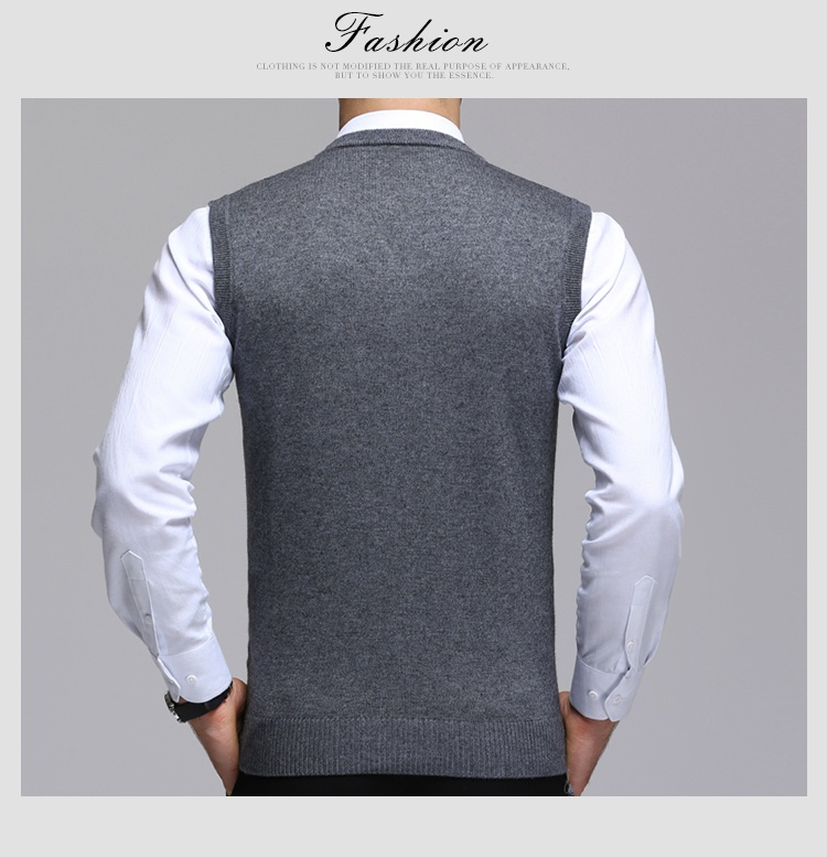 24dddd432cd36 Details about Plus Size Men Sleeveless Knitted Tank Top V Neck Jumper  Business Sweater Soft