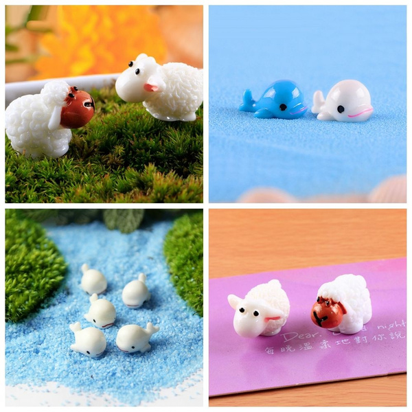 10pcs Kawaii Miniature Figurine Dollhouse Decor Mini Animal Plant Pots Fairy