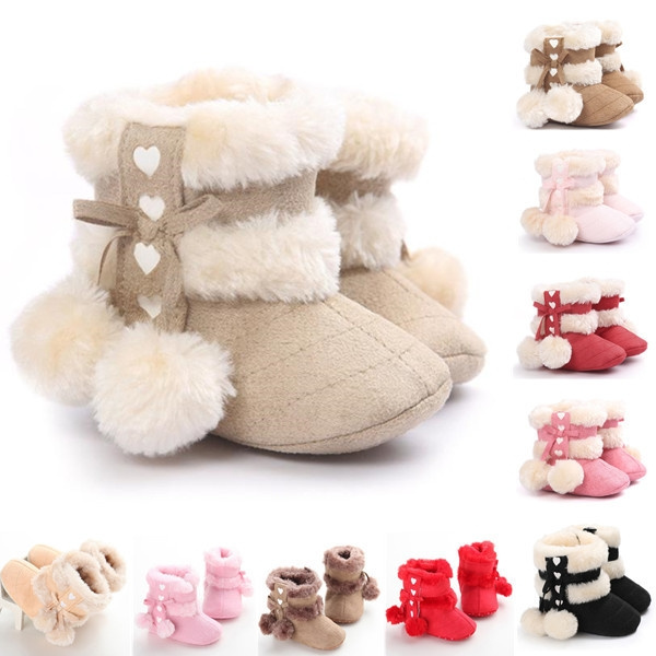 best online size 7 on feet shots of 0-2 Years Old Lovely Baby Girl Boy Soft Booties Snow Boots Infant ...