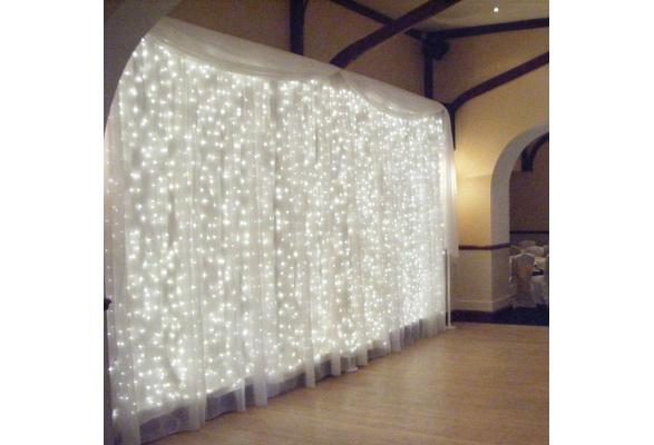9.84x9.84ft /3Mx3M 300-LED White/Warm White/Pink/Blue Light Romantic Christmas Wedding Outdoor Decoration Curtain String Light (110V/220V) US/UK/AU/EU Standard Plug