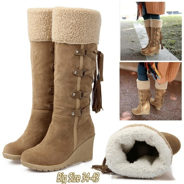 123adbd9a6a Fashion Warm Winter Scrub Plush women Snow Boots Wedges Knee high  Slip-resistant Boots Thermal Female Cotton-padded Shoes Big Size 34-43  Scarpe Da ...