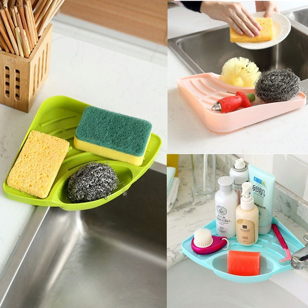 PD Kitchen Sponge Holder With Suction Cup Sink Rack Organizer Dish Cloth  Cleaning