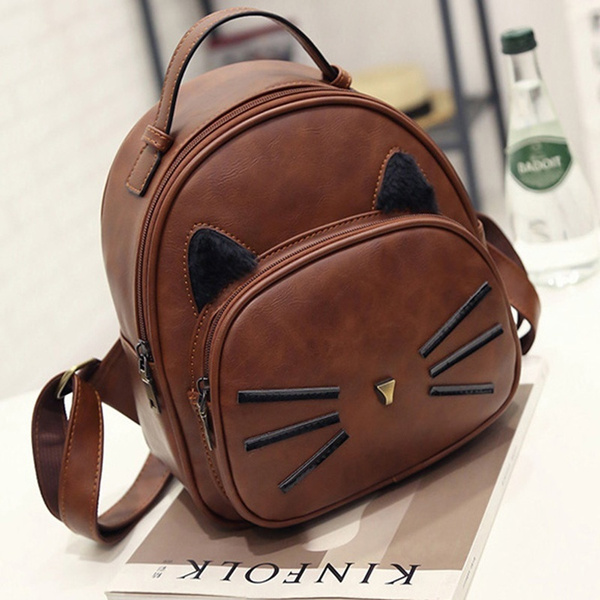 76093d0050e Kawaii Cat Ear Backpack Black Preppy Style School Backpacks for ...