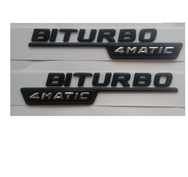 1pair V8 BITURBO 4MATIC Letters Trunk Badge Emblem Sticker for Mercedes-Benz AMG