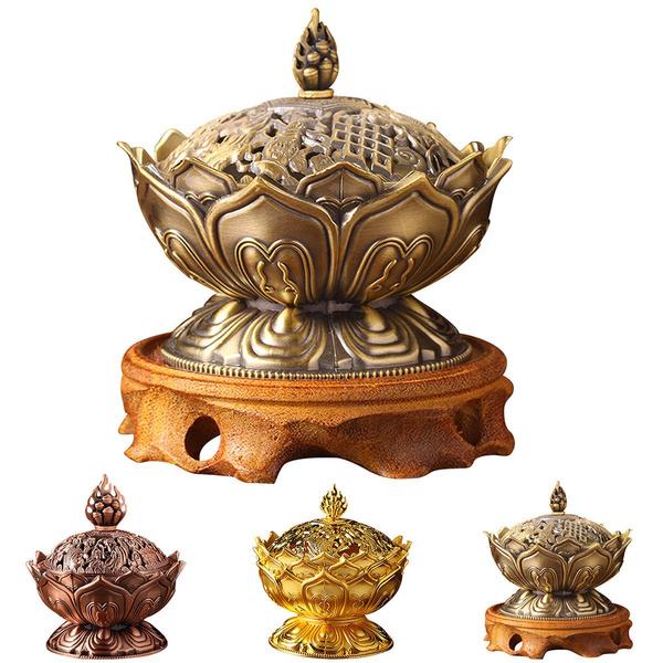 Chinese Lotus Incense Burner Holder Flower Statue Censer Room Decoration Home