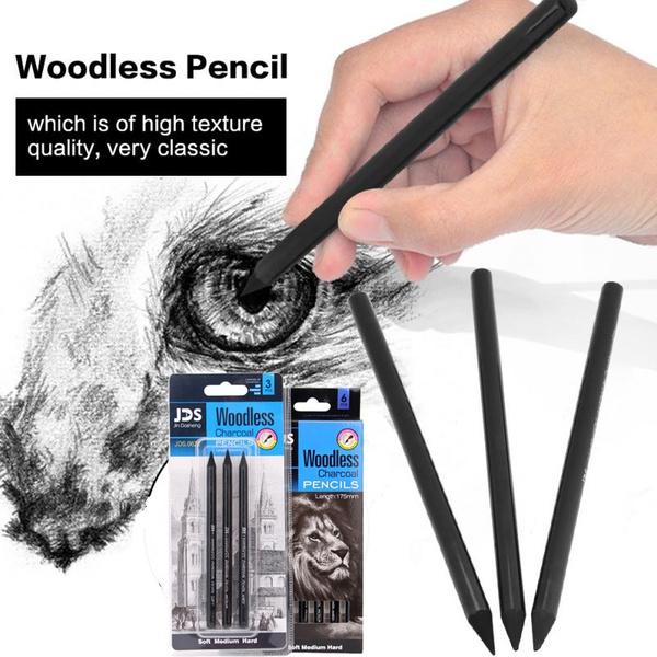 3pcs/6pcs Professional Sketching Drawing Artist Pencil Set Art Charcoal  Full Graphite Pencils