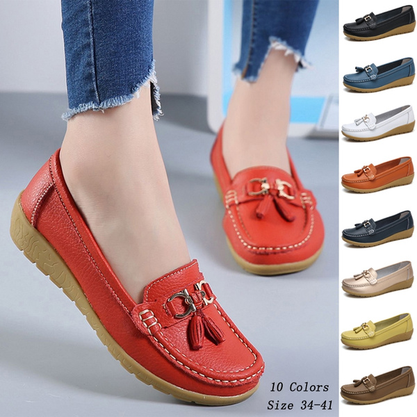 317f63ec106cf Size 34-41 Ladies Casual Loafers Shoes Genuine Leather Women Flat Shoes