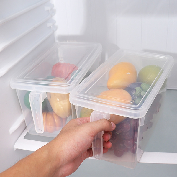 Refrigerator plastic storage cassette handle plastic cassette with cover  storage box storage of fruits and vegetables