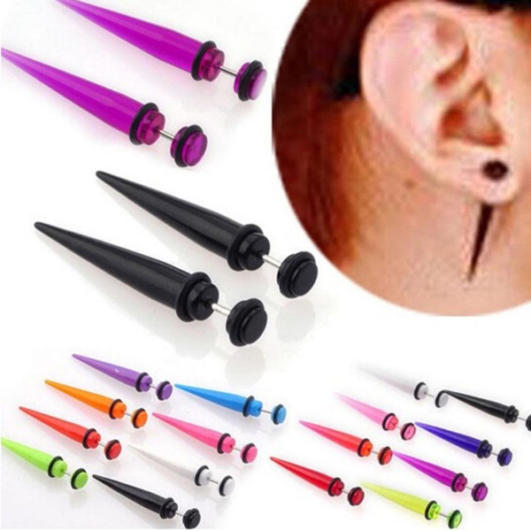 Fake Ear Plugs Piercings Expander Stretchers Acrylic Tunnels Cheater Stud