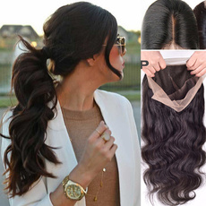 wig, womenslongwavyfullwig, Lace, human hair