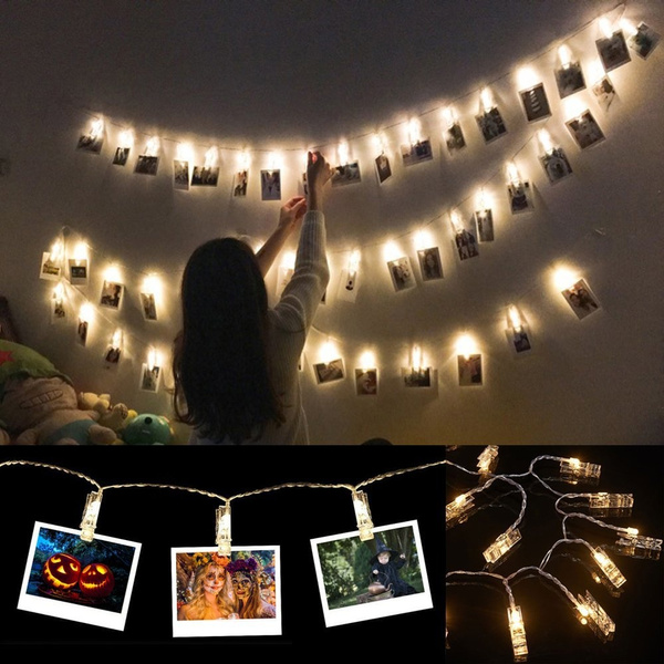 10 Leds Photo Picture Clips String Lights Wall Decoration Light Wedding Party Christmas Home Decor For Hanging Photos Paintings Pictures Card