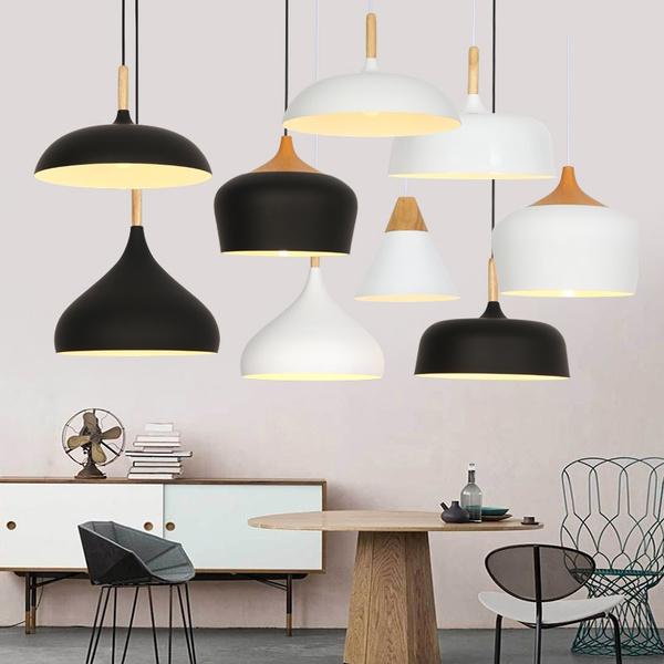 Modern Aluminium Rustic Lampshade Luminaire Lamp Light Vintage Wood Pendant Style Suspension Hanging Nordic l1JFKc