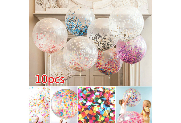 10pcs 12'' Foil Confetti Transparent Latex Balloons Jumbo Multicolor Balloon for Wedding/Birthday Party Decorations 11 Colors