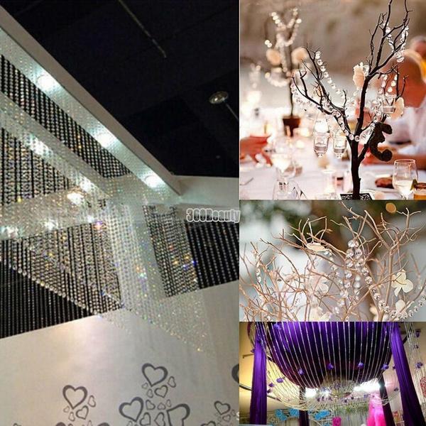 Wish | 1 Roll 33FT 10meters Diamond Strand Acrylic Crystal Bead Curtain Wedding DIY Party Craft Decor