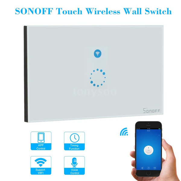 Sonoff Touch Wifi Luxury Glass Panel Touch Screen Led Light Eu Wireless 1 Gang Timer Wall Touch Switch Phone App Remote Control Security & Protection