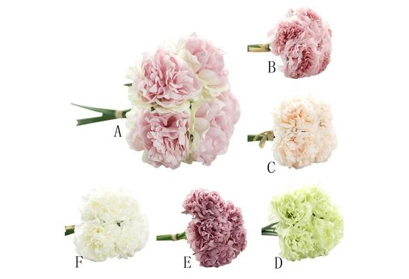 Artificial Home Silk Fake Flowers Peony Floral Wedding Bouquet Bridal Hydrangea Decor