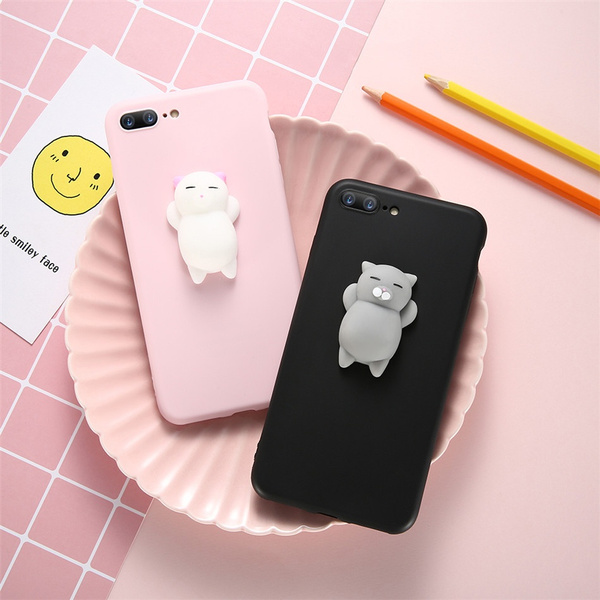 promo code 98739 71d6a Squishy Phone Case for iPhone 6 6s 7 Cute Cartoon 3D Cat Squishy Case For  iPhone x iPhone 6 iPhone 6s iPhone 7 iPhone 7 Plus iPhone 8 Soft Silicone  ...