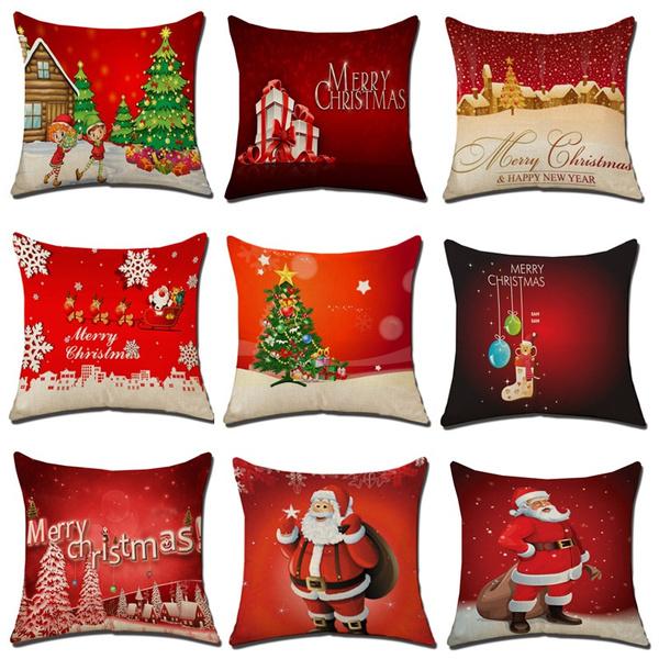 Cuscini Natalizi Per Divano.Vintage Natale Federe In Cotone E Lino Divano Cuscino Home Decor