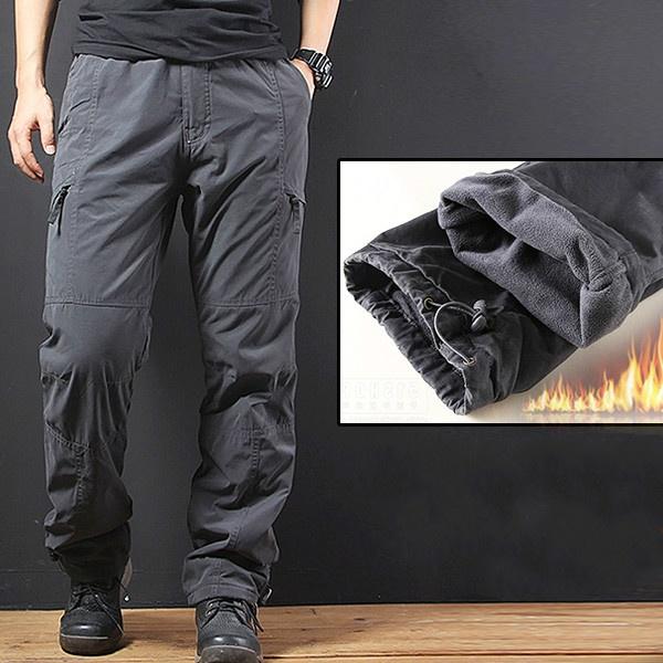 1b0c1e74024 Details about Winter Men Loose Pocket Trousers Outdoor Pants Warm Thicken  Fleece Plus Size New