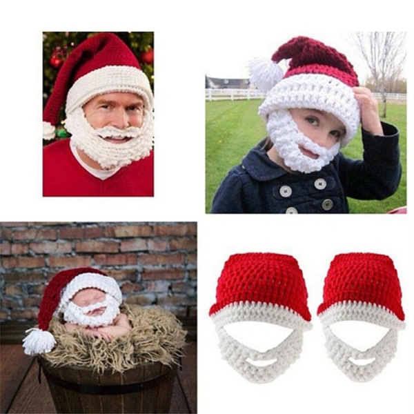 4e9b5eeacef Cool Christmas Hat Handmade Knitted Mustache Hat Santa Claus Full ...