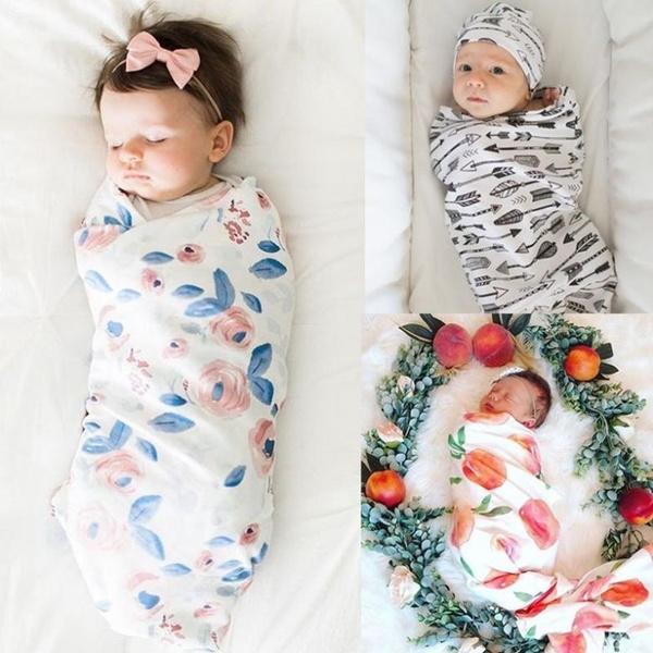 Newborn Infant Baby Swaddle Blanket Sleeping Swaddle Muslin Wrap Headband Cloth