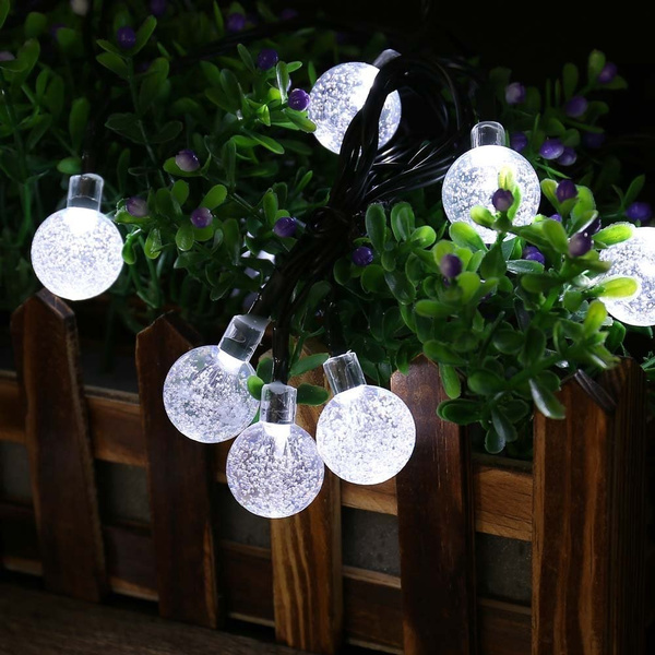 wish outdoor lighting 30 led solar string fairy lights solar power crystal ball lamp for garden light christmas decoration