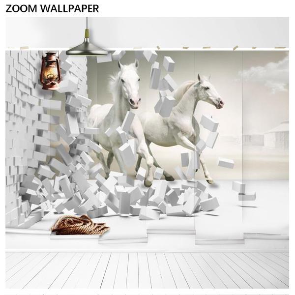 Eco Friendly 3d Horse Wallpaper White Horse Bedroom Living Room