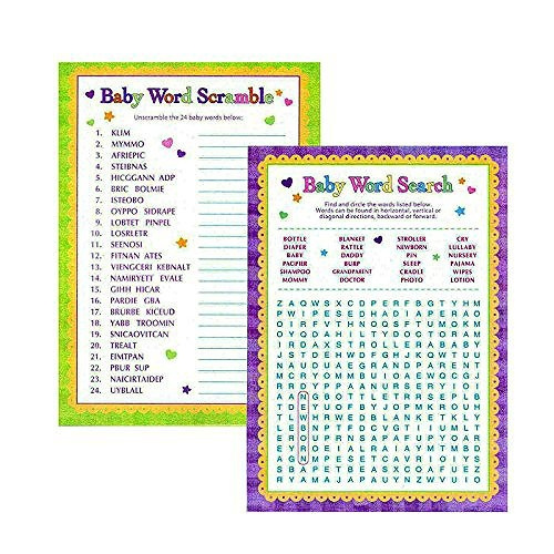 Baby Shower Word Games 24 Sheets Scramble Search Gender Reveal Party Supplies