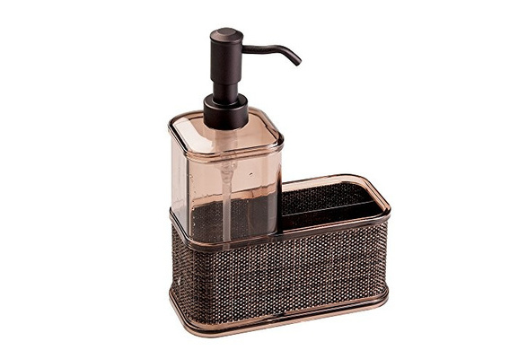 mDesign Soap Dispenser Pump Sponge Scrubber Caddy Organizer Kitchen Bathroom New