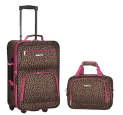 pink, Set, Luggage, Leopard