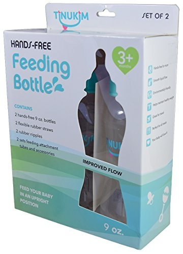 Tinukim Hands Free Baby Bottle Anti-Colic Nursing System 9 Ounce  Set of 2