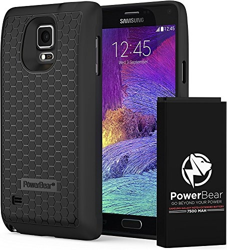 low priced 4ce18 2de88 PowerBear Samsung Galaxy Note 4 Extended Battery [7500mAh] & Back Cover &  Protective Case (Up to 2.3X Extra Battery Power) - Black [24 Month Warranty  ...