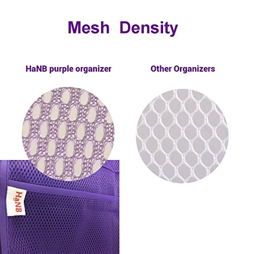 Wish | Mesh Hanging Caddy And Bathroom Organizer. 6 Pocket Shower Caddy.  Hang On EXISTING Shower Curtain Rod / Liner Hooks. Quick Dry Bath Organizer.  Purple