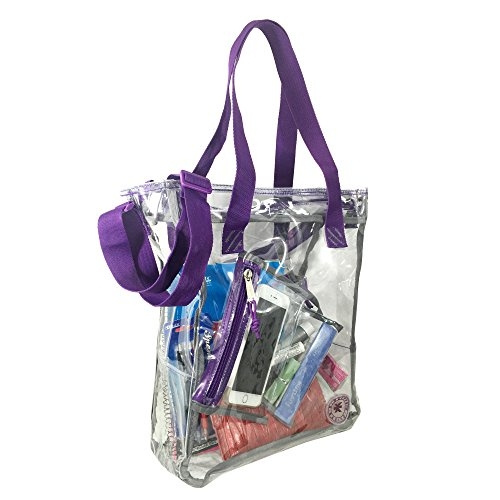 Heavy Duty Clear Tote Bag See Through Messenger Durable 0 5mm Vinyl Transpa Work Student School Bookbag With Cell Phone Pouch Pencil