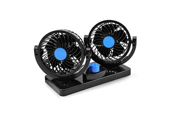 12V Electric Car Fan Auto Cooling Air Circulator 360 Degree 2 Speed Dual Head