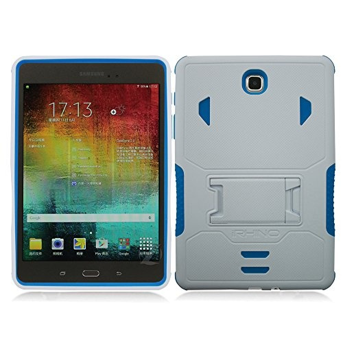 sports shoes 4f721 2a4fe [iRhino] TM For Samsung galaxy Tab A 8 inch T350 Tablet case cover White  Blue Heavy Duty rugged impact Dual Layer Hybrid Case cover with Build In ...